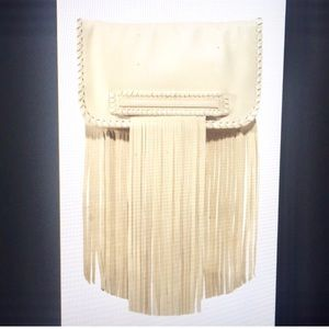 Fringe Summer Clutch in Off White